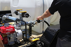 Trailer comes with Honda engine and pump for quick filling and quick spraying