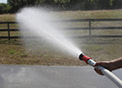 water trailers also come with a fire hose and nozzle