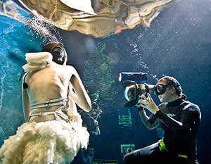 Zena Holloway working in an underwater studio